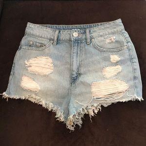BDG super high rise cheeky distressed shorts